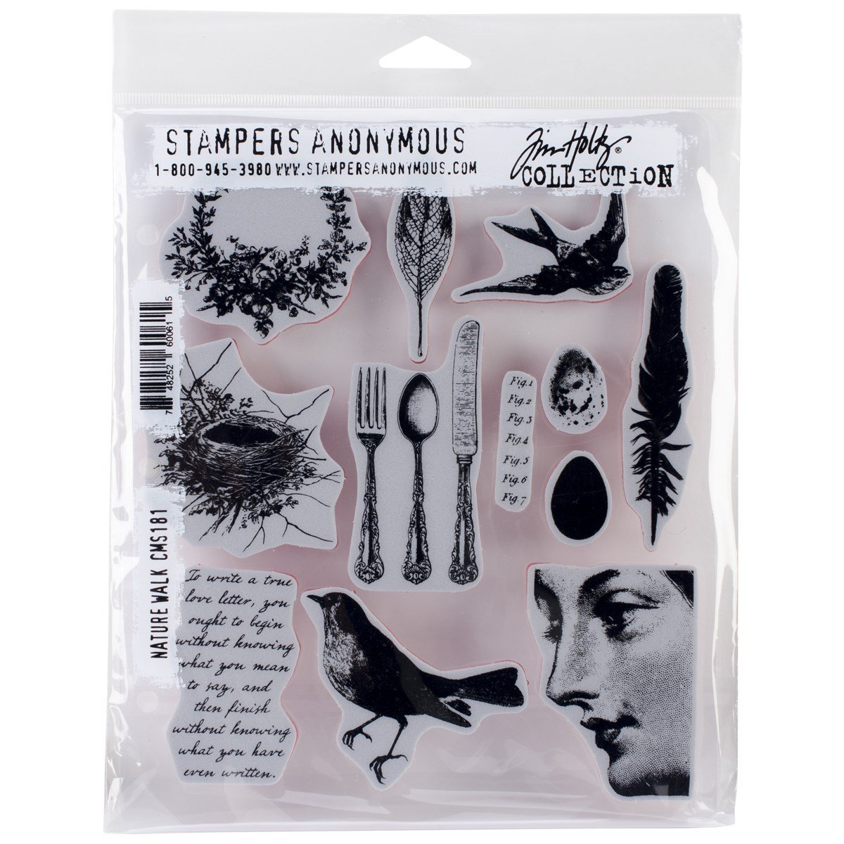 Stampers Anonymous Tim Holtz Cling Rubber Stamp Set, 7-Inch by 8.5-Inch, Nature Walk