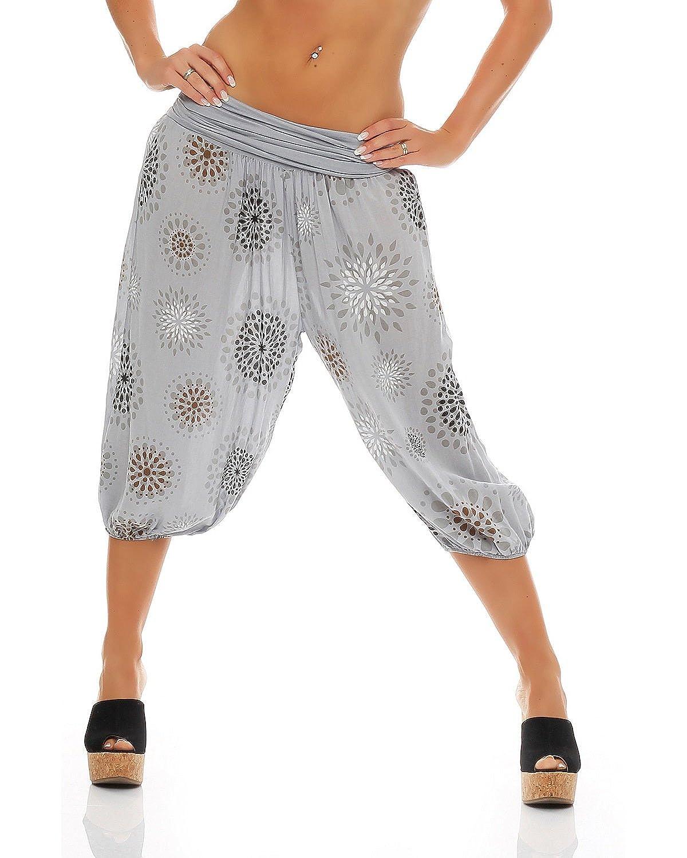 ZARMEXX Signore 3//4 bloomers dei pantaloni breve estate di stile Capri Pants Harem yoga Aladin al ginocchio Taglia