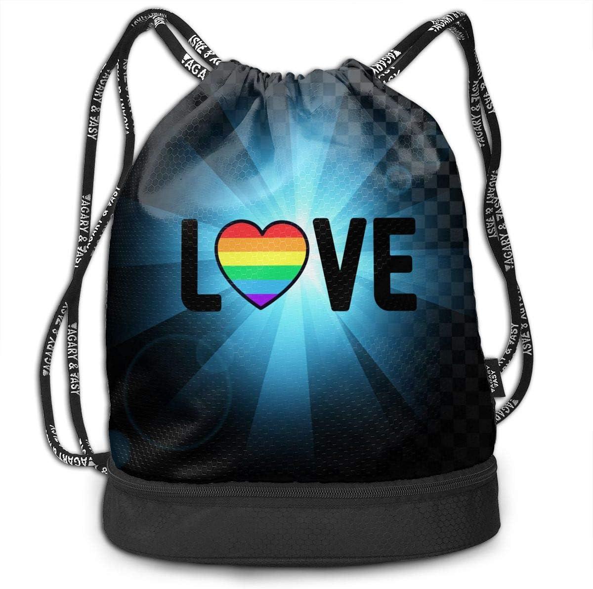 GAY PRIDE LOVE Men /& Women Drawstring Backpack Bag Beam Mouth Sport Bag Rucksack Shoulder Bags