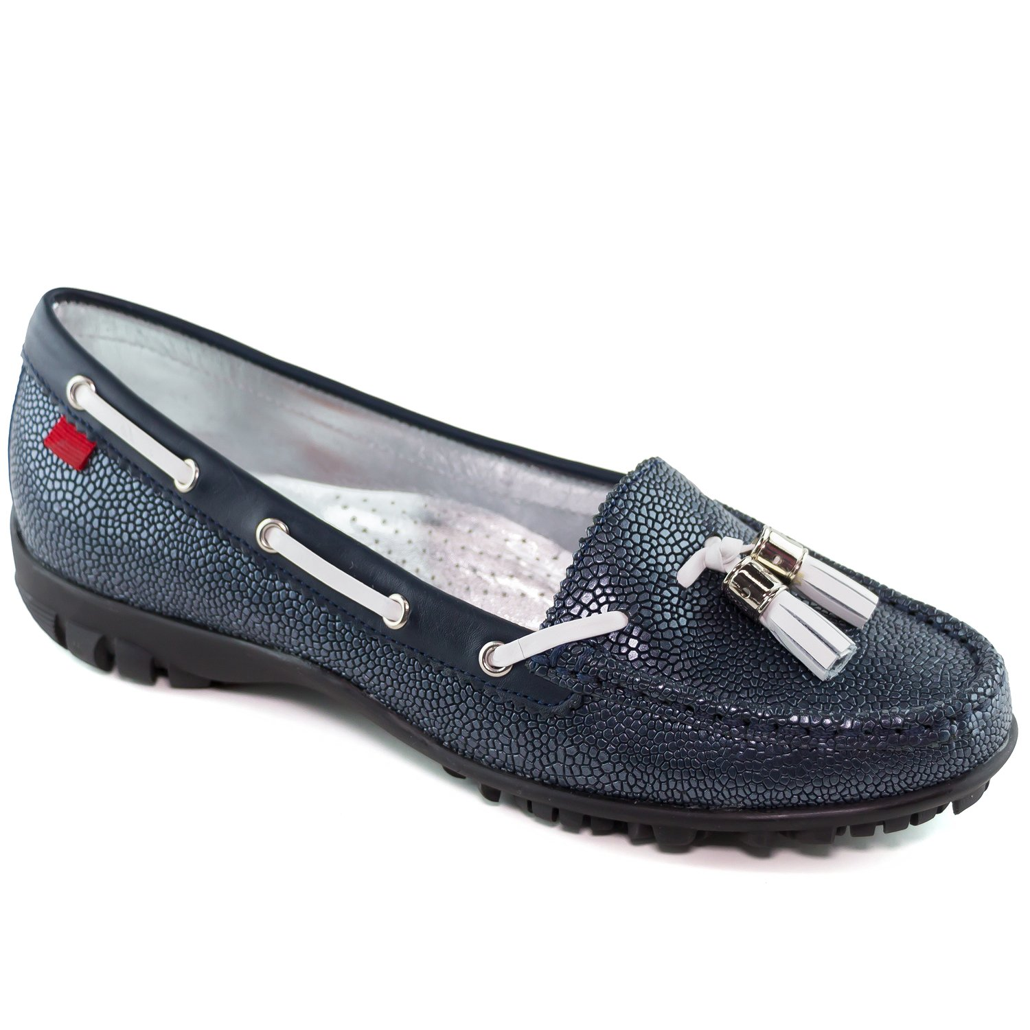 Marc Joseph New York Women's Fashion Shoes Spring Street Golf Navy Pebble With Tassel Moccassin Size 6.5 by Marc Joseph New York