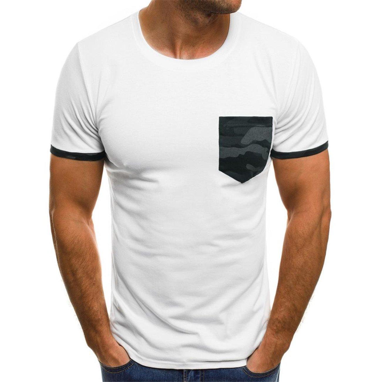 Magiyard La Mode Personnalit/é Hommes Casual Mince Manches Courtes Poches T-Shirt Chemisier Top Blouse