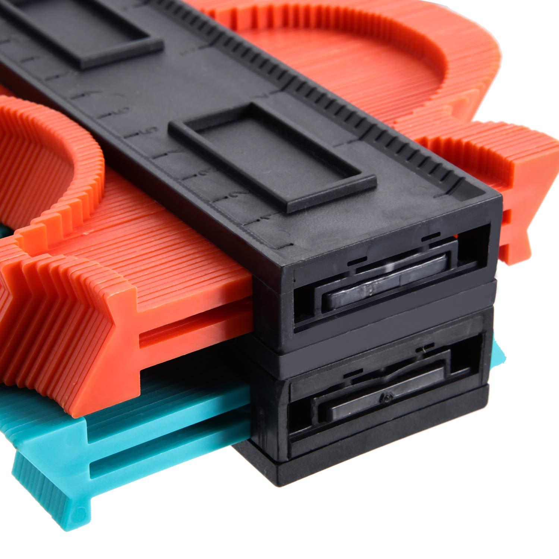 10 Pulgadas Verde 10 Pulgadas Rojo Paquete de 2 Calibrador de Contorno de Pl/ástico Medidor de Perfil Duplicador Copia de Formas Irregulares Herramienta de Medici/ón de la Plantilla