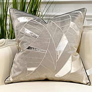 Avigers 20 x 20 Inches Grey Silver Striped Cushion Case Luxury European Throw Pillow Cover Decorative Pillow for Couch Living Room Bedroom Car