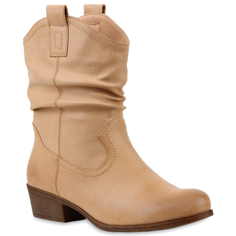 Stiefelparadies Damen Stiefeletten Cowboy Boots mit Blockabsatz Flandell Braun