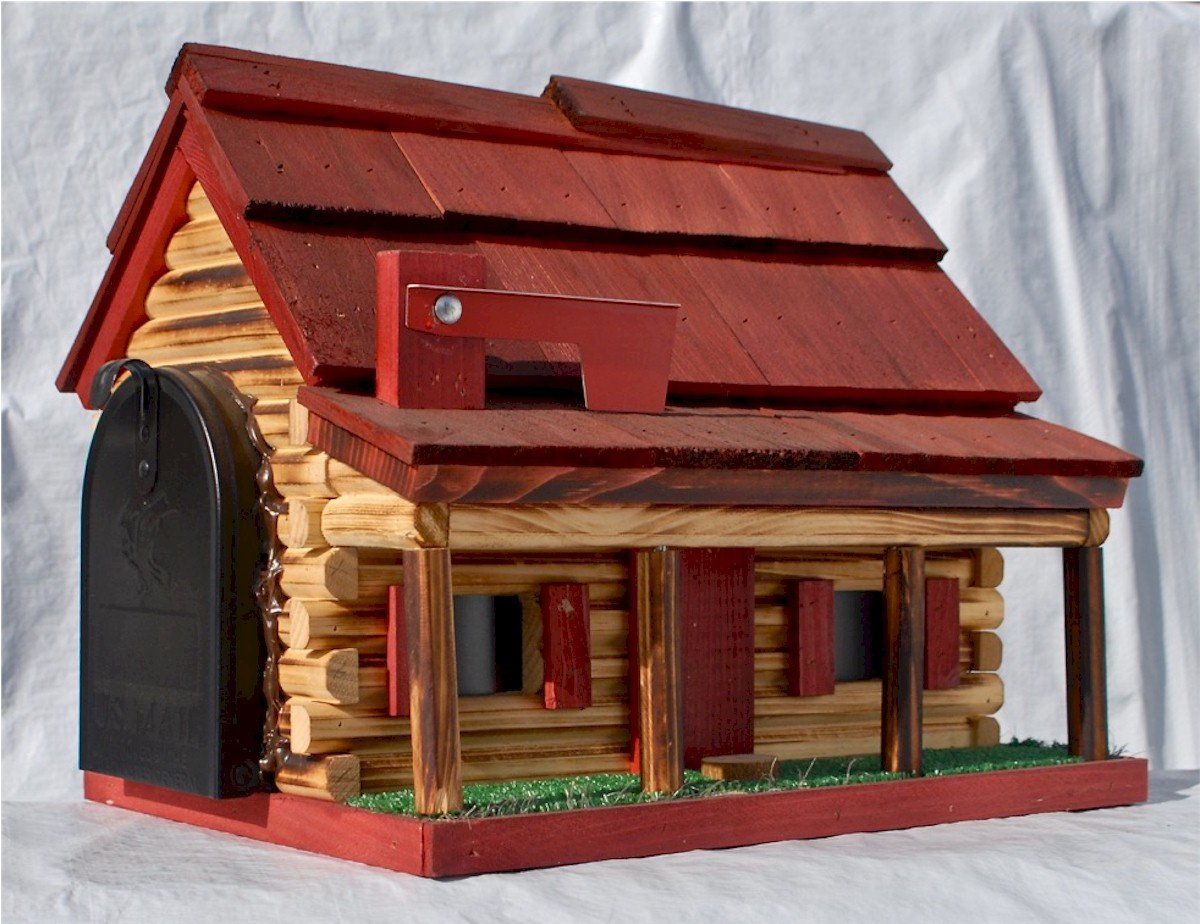 Log Cabin with Porch Wooden Mailbox Red Amish Made in USA by AmishShop.com