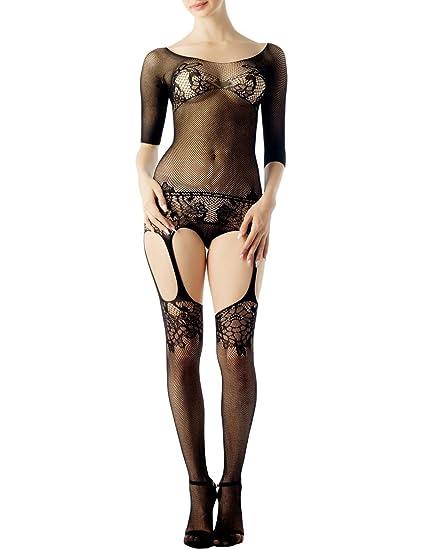 24be8f9e5 Amazon.com  iB-iP Women s lace fishnet sheer long sleeve garter belt Long  Sexy Bodystocking