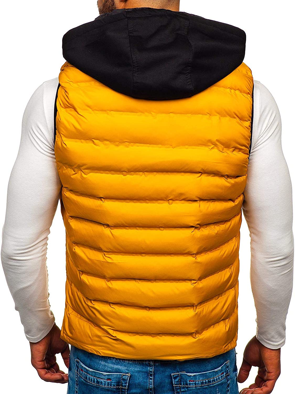 BOLF Mens Hooded Gilet Sport Vest Casual Bodywarmer Padded Zip Mix 4D4