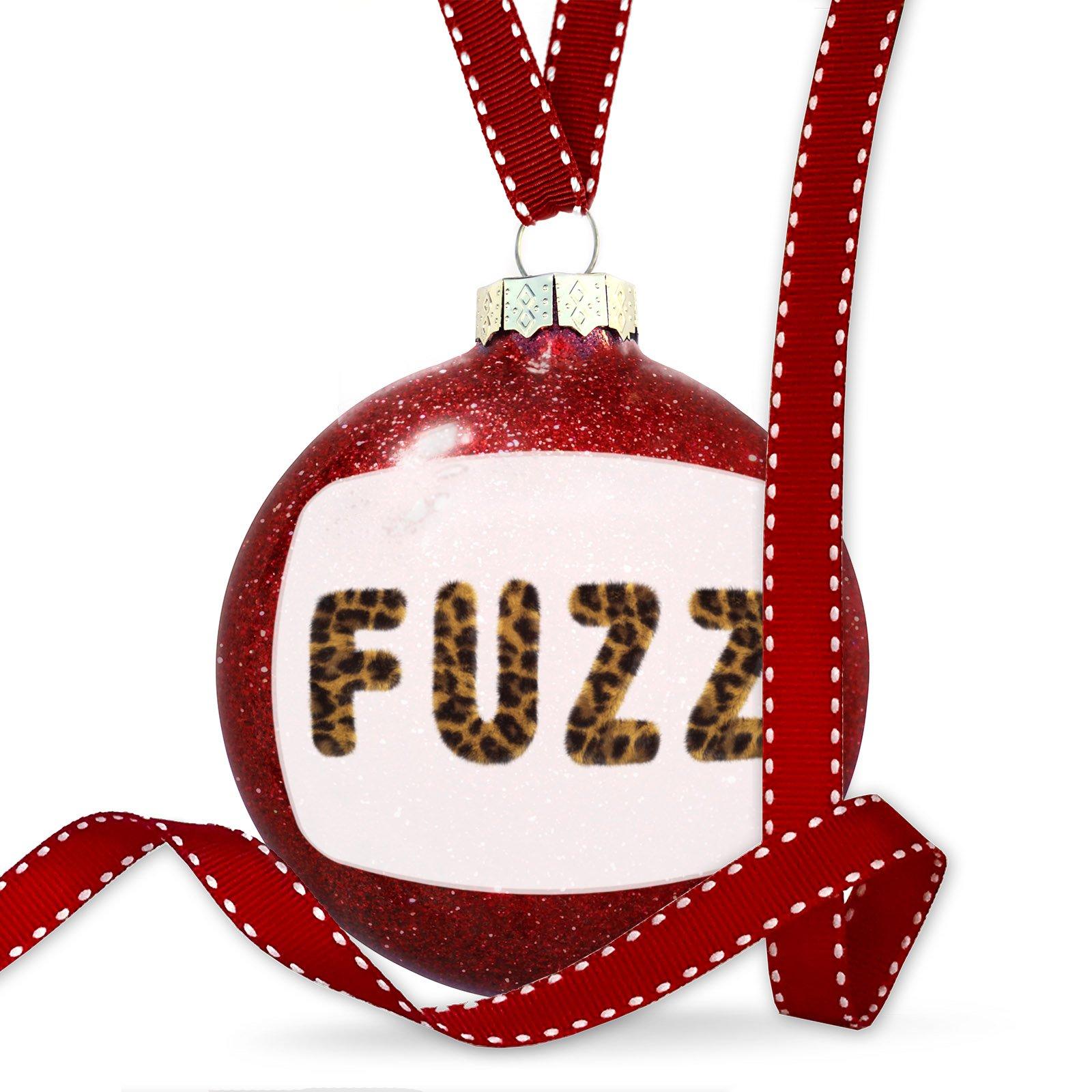 Christmas Decoration Fuzz Cheetah Cat Animal Print Ornament