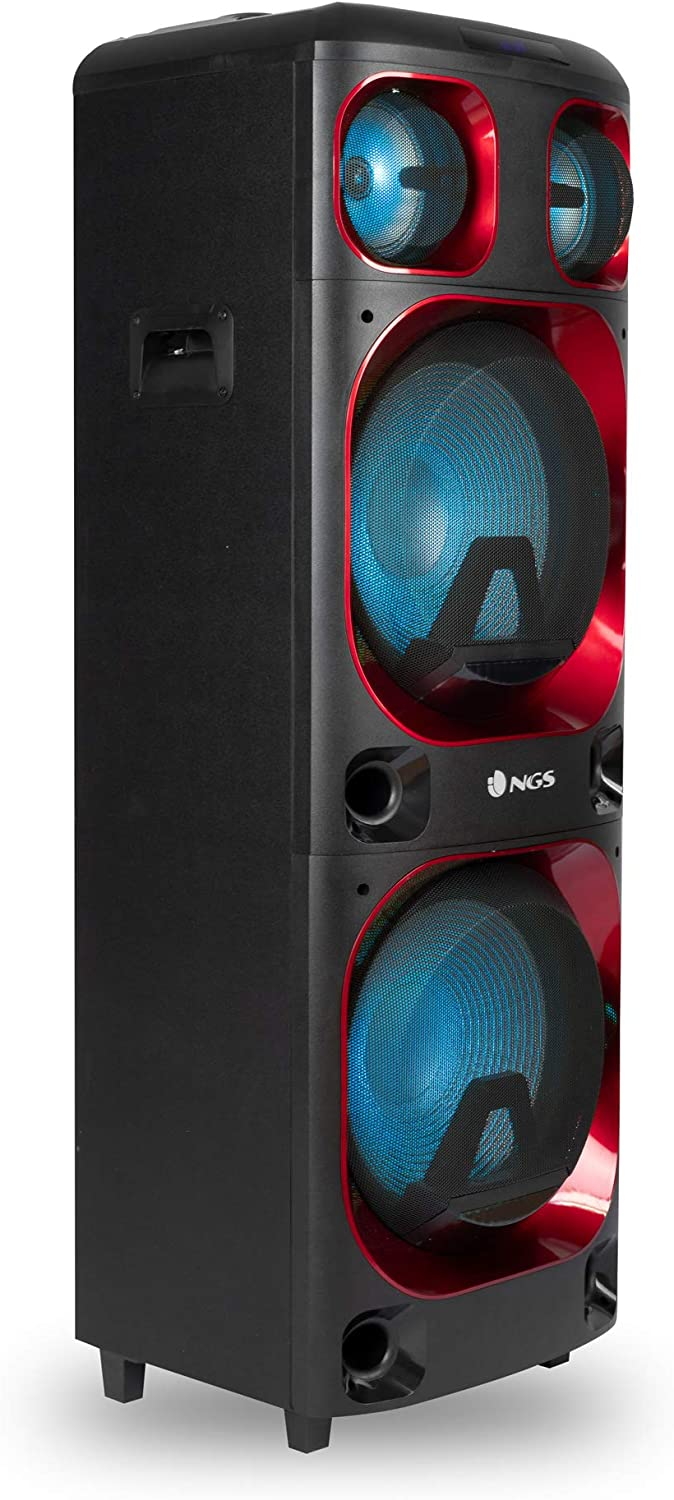 "NGS Wild Ska 2- Altavoz portátil de 800W Compatible con Tecnología Bluetooth y True Wireless. Doble Subwoofer 12"" (Micro SD/USB/AUX IN/). Color Negro"