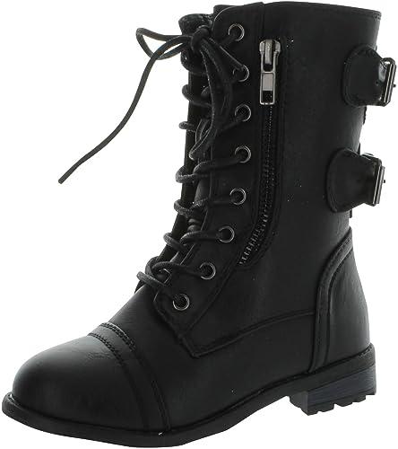 3333595f4 Amazon.com | Link Mango-61K Girls Zipper Military Combat Boot | Boots