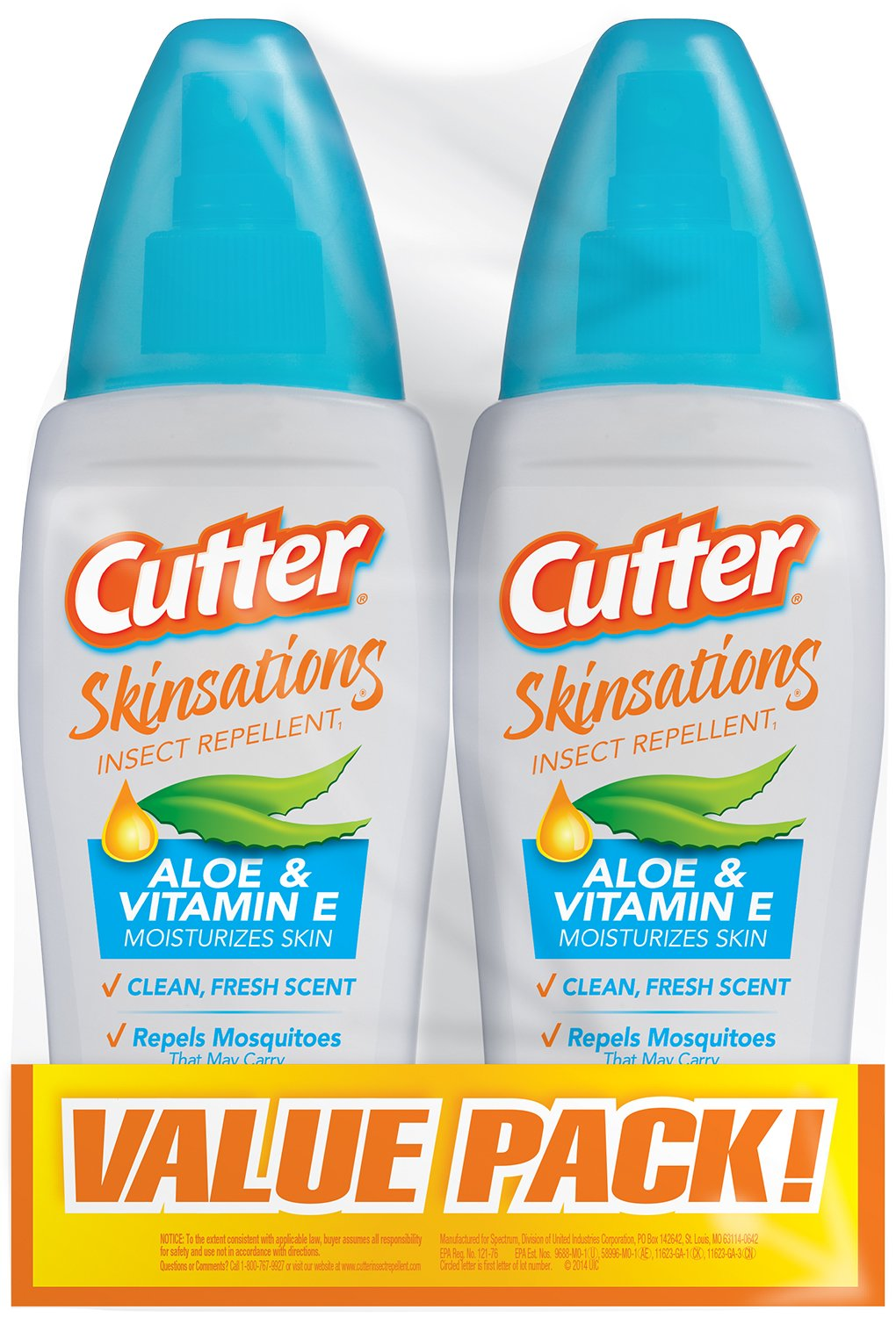 Cutter 54012 Skinsations 2 to 6-Ounce Insect Repellent Pump Spray, Case Pack of 2