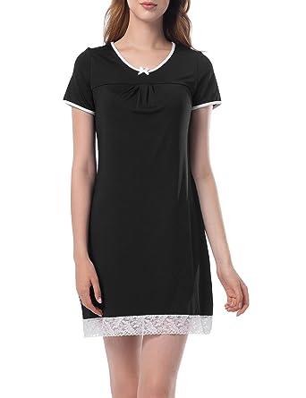 d8893a4091 ZHENWEI Nightdresses for Women Night Dress Nightshirt Ladies Pyjamas  Chemise Nightwear Short Sleeve for Summer