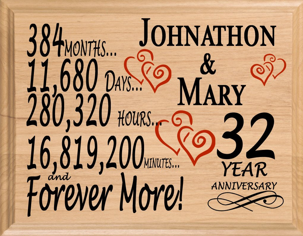 Broad Bay 32 Year Personalized 32nd Anniversary Wedding Gift for Wife Husband Couple Him Her
