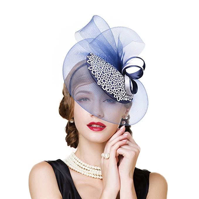 406ad86b450 Lawliet Womens Sinamay Veil Netting Ascot Fascinator Cocktail Party Hat  T244 (Blue)