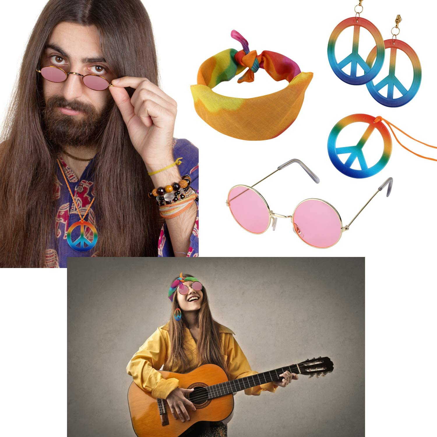 FOZZA 4 Pieces Hippie Costume Accessories Set,Includes Hippie Sunglasses,Rainbow Peace Sign Earrings and Necklace,Hippie Tie Dye Bandana Headband for 60s Or 70s Hippie Themed Party