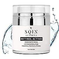 Crema de Retinol para Cara, Ácido Hialurónico, Aloe Vera, Hidratante Facial Anti Arrugas, Líneas Finas, Vitamina A…