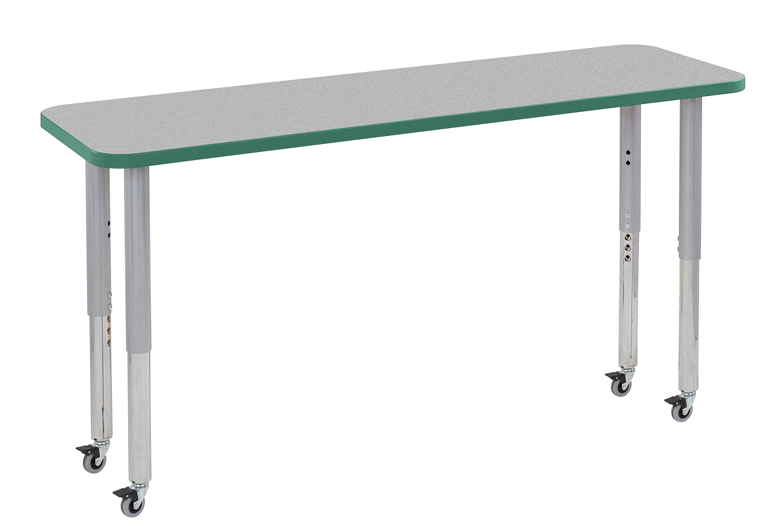 ECR4Kids Thermo-fused 18'' x 60'' Mobile Rectangle School Activity Table, Super Legs w/ Glides and Casters, Adjustable Height 19-30 inch (Grey/Green/Silver)
