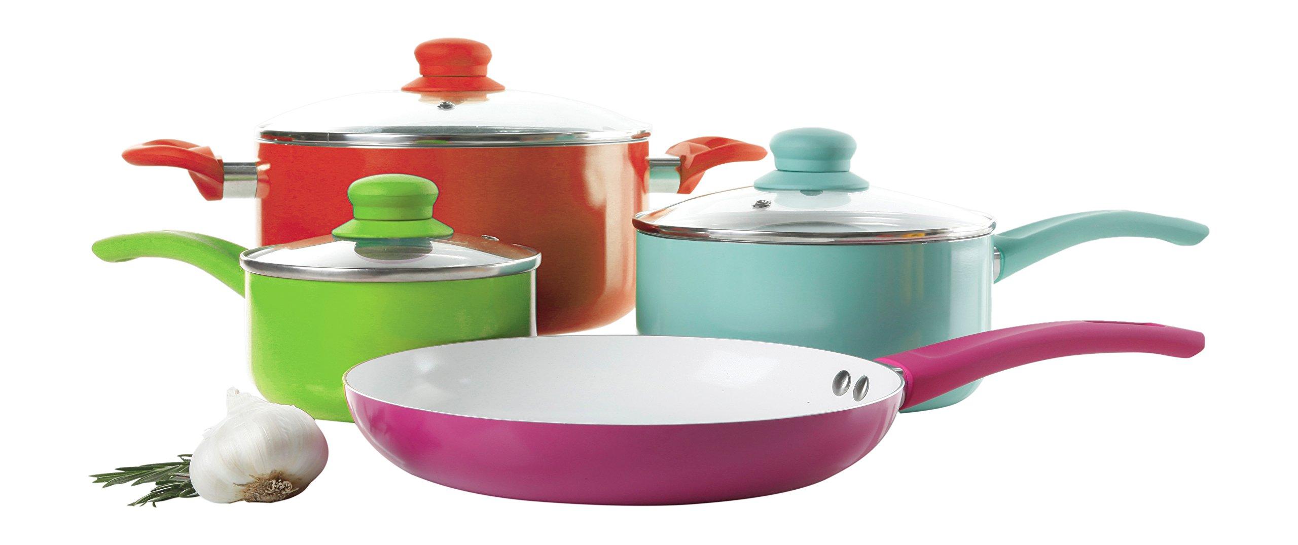 Gibson Home 108152.07 Benni 7 Piece Assorted Aluminum Cookware Set, Multicolored