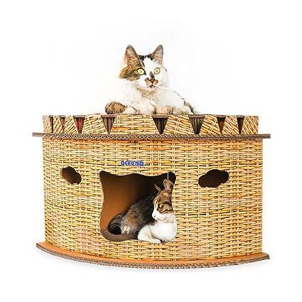 Cat Escalada Marco Gato Cama Gato Casa con Campanas Gato Saltando Plataforma De Papel Corrugado Cat Scratch Tablero Diseño Semicírculo: Amazon.es: Hogar