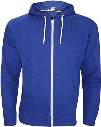 Mens American Plain Fleece Hoodie Zip Up Sweatshirt Jacket Hoodies Top Size UK S-5XL