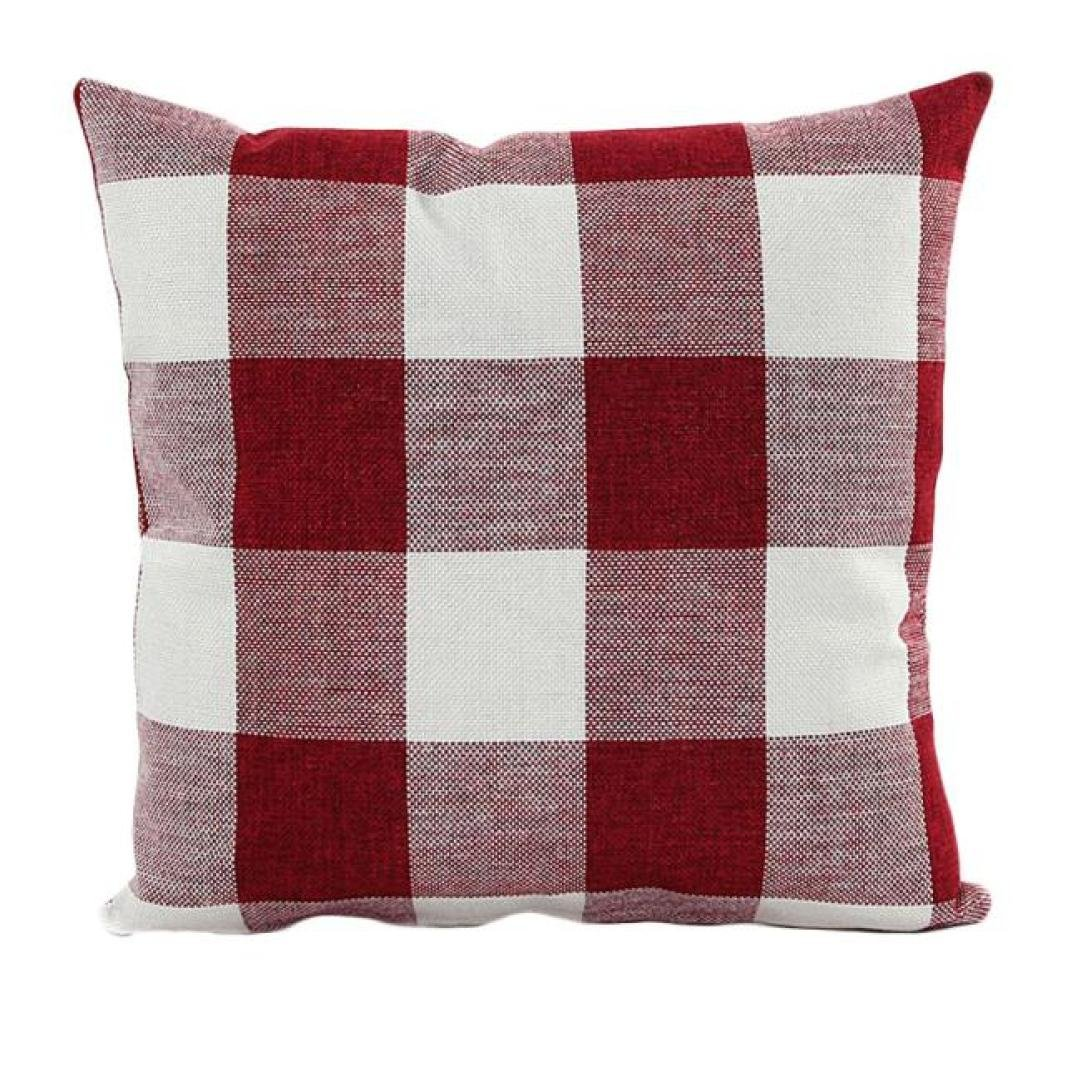 Decor Pillow Cases, Howstar Square Throw Cushion Cover Plaid Pillow Covers for Chair 18x18 inch (45cm) (Red)