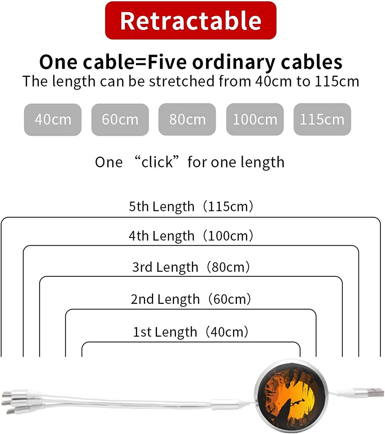 Multi Charging Cable Portable 3 in 1 The Circle of Life USB Cable USB Power Cords for Cell Phone Tablets and More Devices Charging