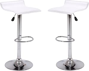 Vogue Furniture Direct Direct Adjustable Height Swivel Barstools With Footrest (Set of 2), White