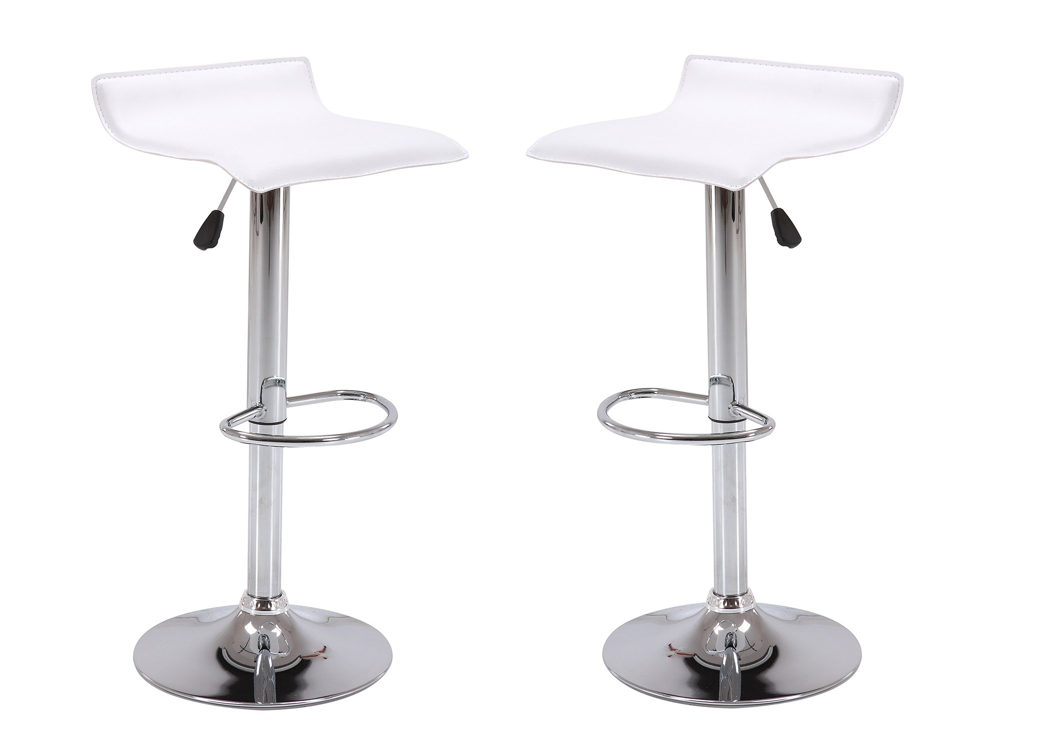 Vogue Furniture Direct Adjustable Height Swivel Barstools with Footrest, White (Set of 2) VF1581045-2