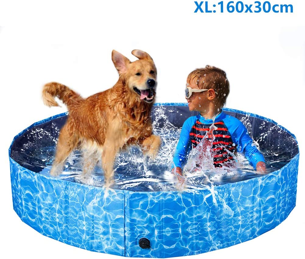 XIAPIA Piscina Perros Grande,Plegable Bañera para Perros Piscina Perros Rigida Piscina Hinchable Perro Desmontables Portatil Regalo para Mascotas (160 * 30cm): Amazon.es: Productos para mascotas