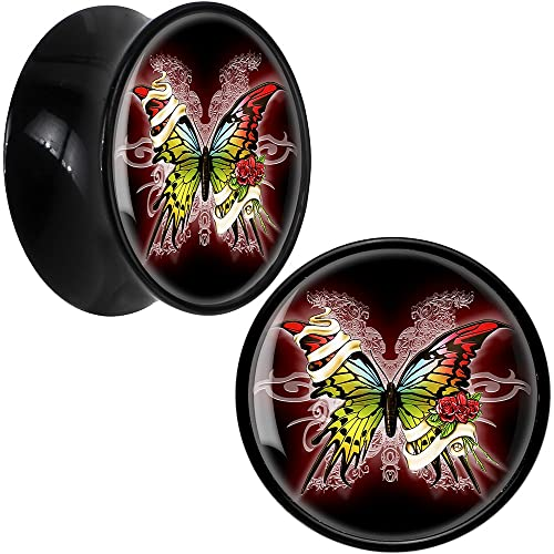 Body Candy Negro Acrílico Tribal Mariposa Dilatador Par 18mm: Amazon.es: Joyería