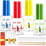 Dip Powder Liquid Set |USA MADE |Large 15ml Bottles with Goodies Gifts |Top Coat| Base Coat| Brush Cleaner | Activator | Easy