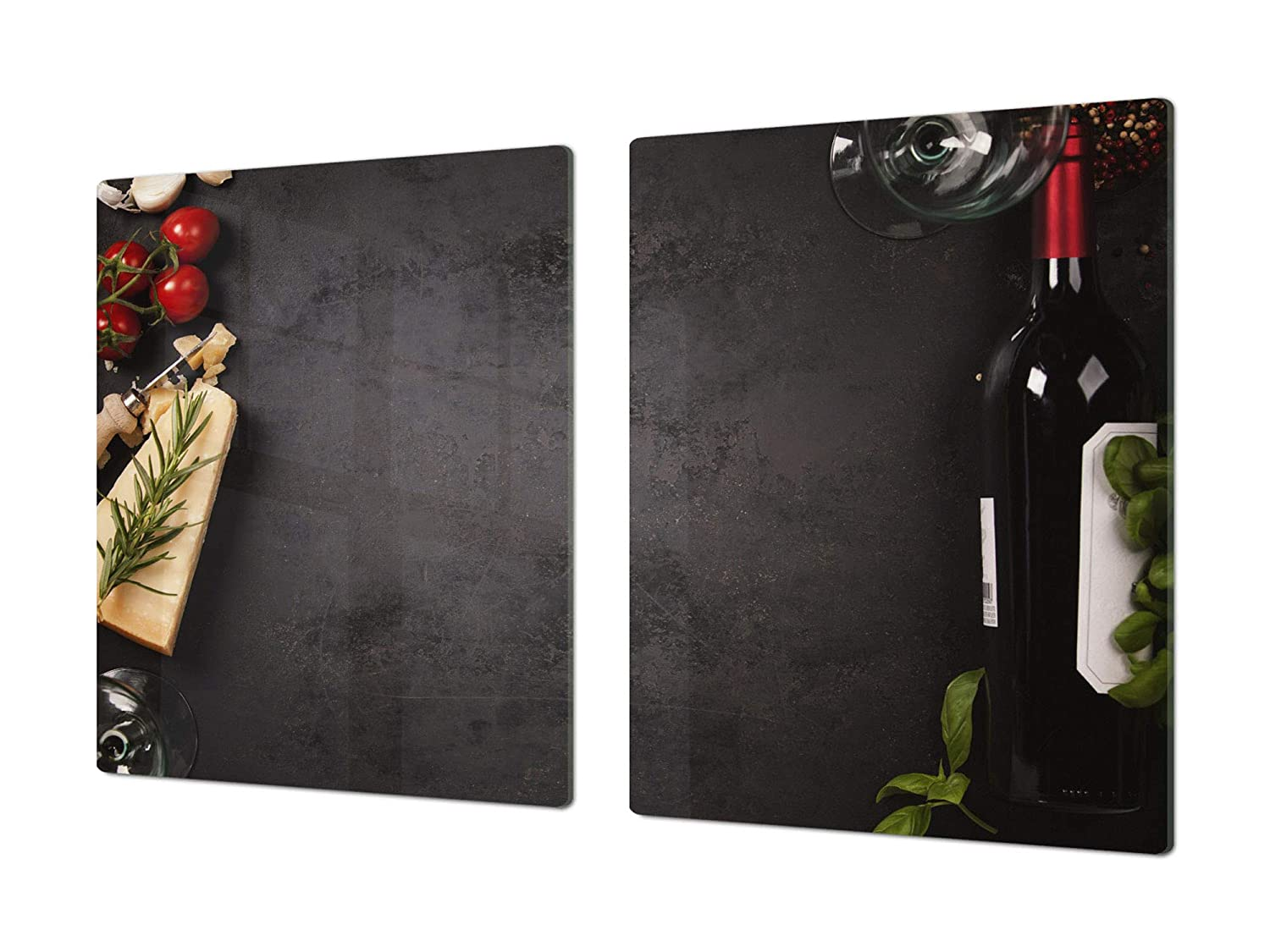 French wine 2 2x40x52 Big Kitchen Board & Induction Cooktop Cover – Glass Pastry Board – Heat and Bacteria Resistant;Single  80 x 52 cm (31,5  x 20,47 ); Double  40 x 52 cm (15,75  x 20,47 ); Wine Series DD04
