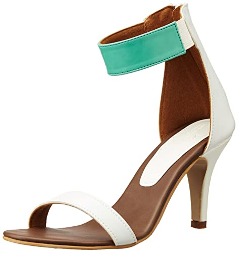 The Trunklabel Women's The January Heel Mint and White Pumps - 7 UK