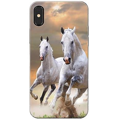 Team Of White Horses Running Snap On Hard Back Case Phone Cover For