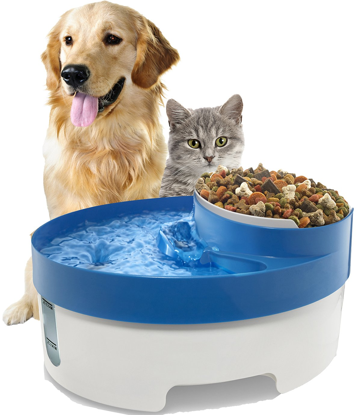 Paws & Pals Pet Fountain Water & Food Bowl Feeder for Dog Cats with Water Filter