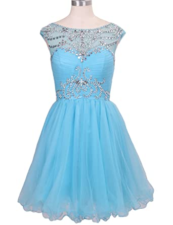 Stillluxury Pleated Beading Prom Dress for Women Tulle Crystal Cocktail Evening Gowns Short Sky Blue Size