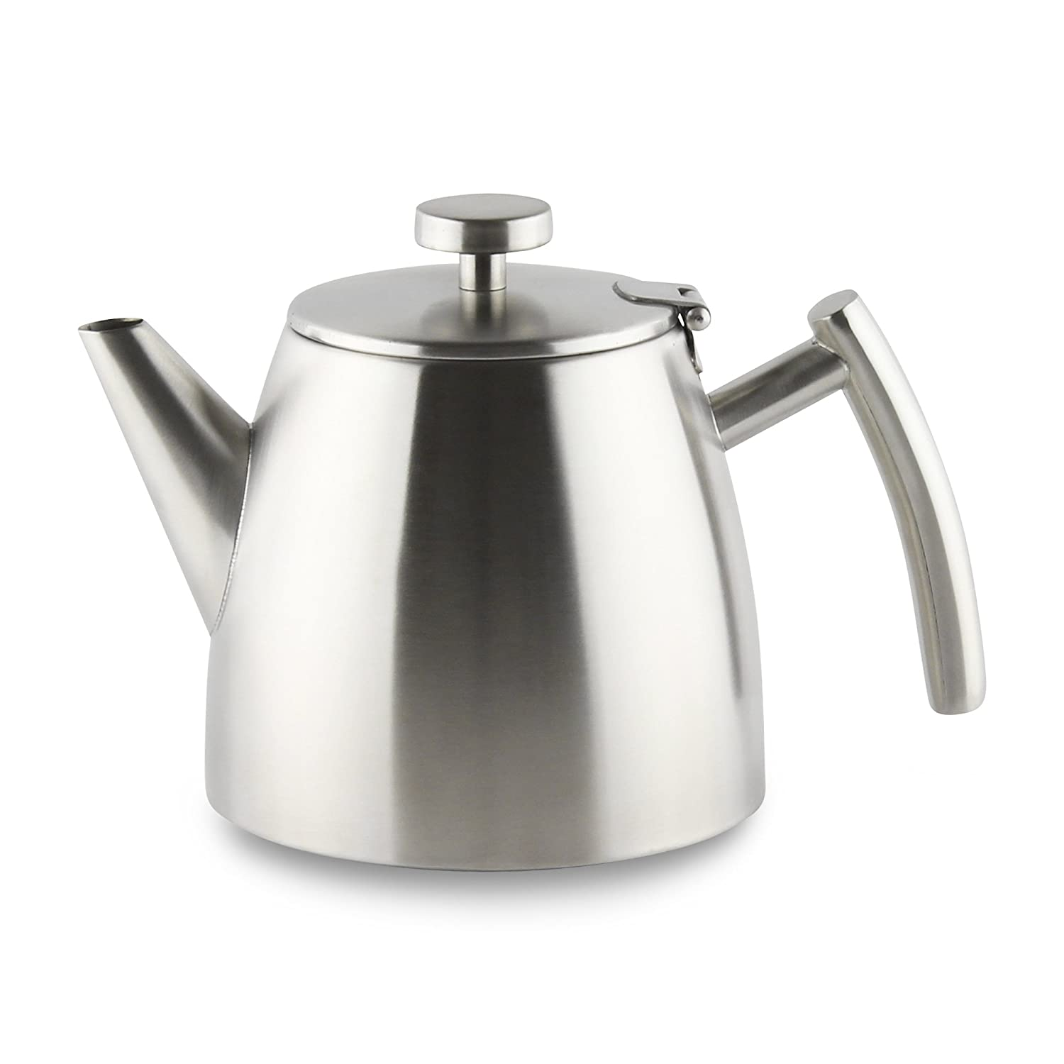 Café Ole Stainless Steel Double Wall Tea Pot with Hinged Lid, Satin, 1.2L/40oz, Satin Finish Grunwerg HTP-12DW/S