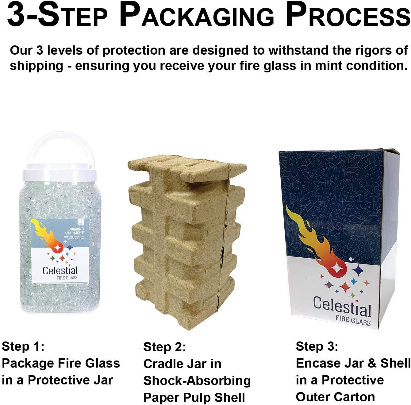 Celestial Fire Glass 2 oz Sample Diamond Starlight 1//2 Ultra Clear Tempered Fire Glass