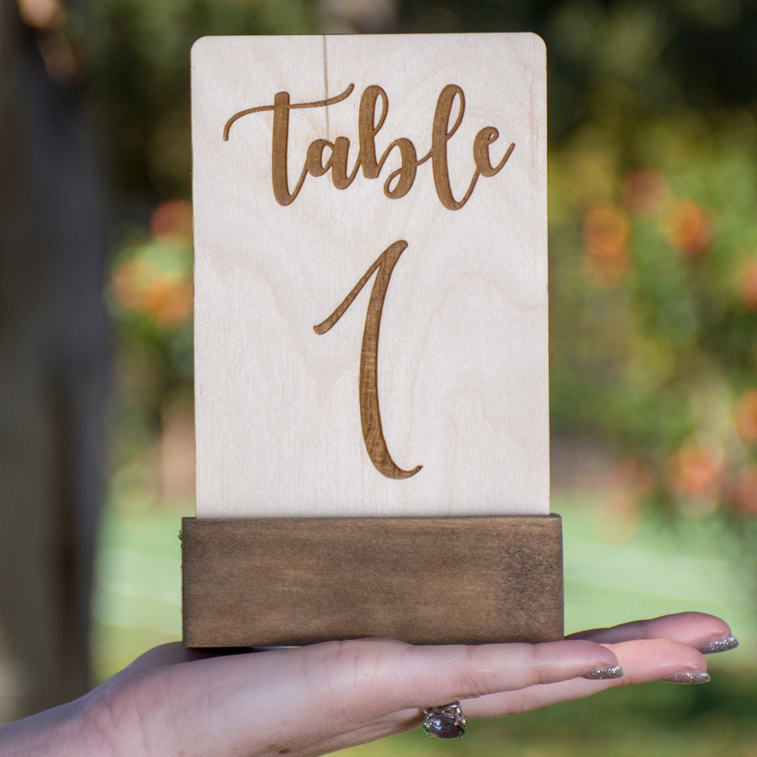 Table Number Wood Engraved - With Base Freestanding
