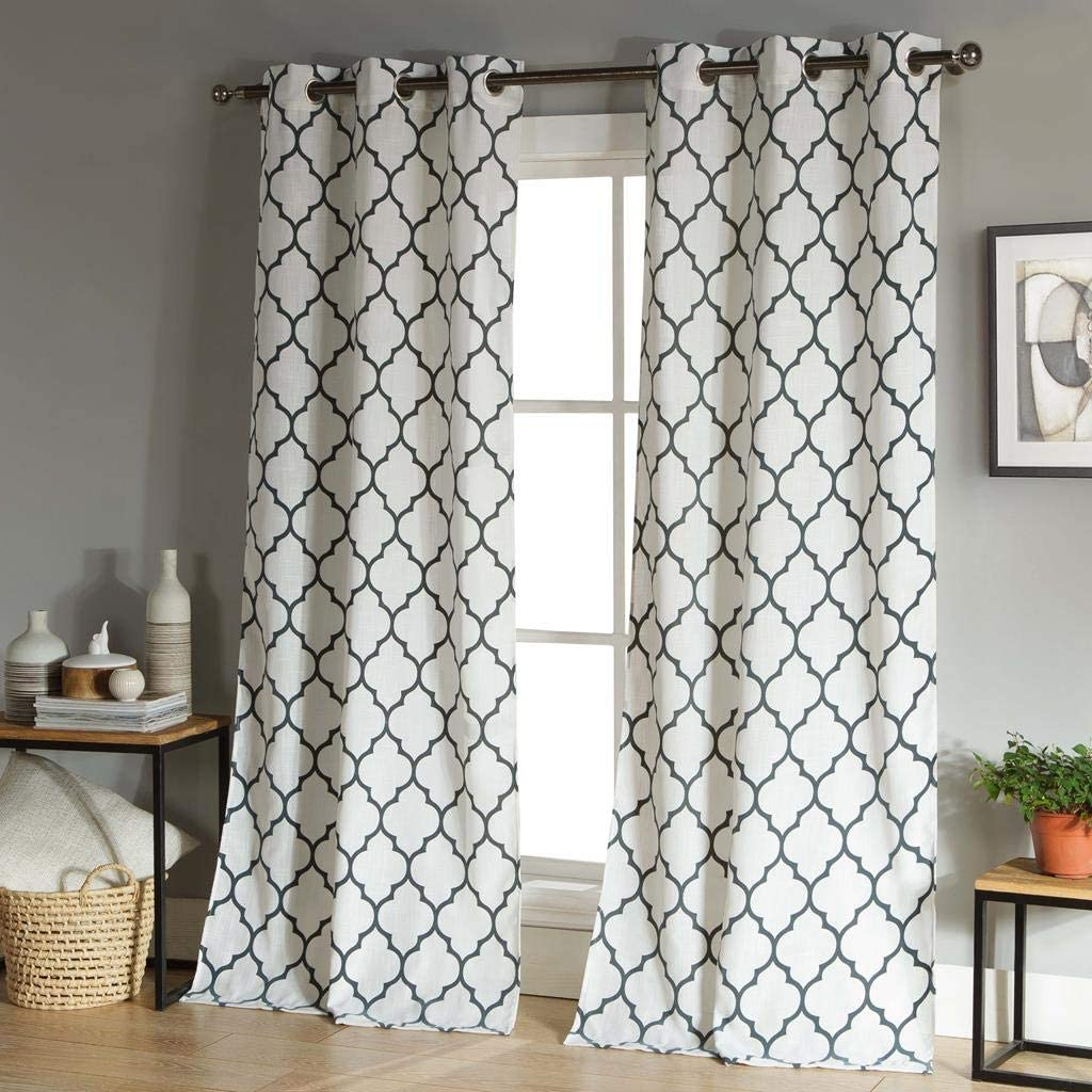 Duck River Textiles - Mason Geometric Linen Textured Grommet Top Window Curtains for Living Room & Bedroom - Assorted Colors - Set of 2 Panels (38 X 112 Inch - Stone Blue)