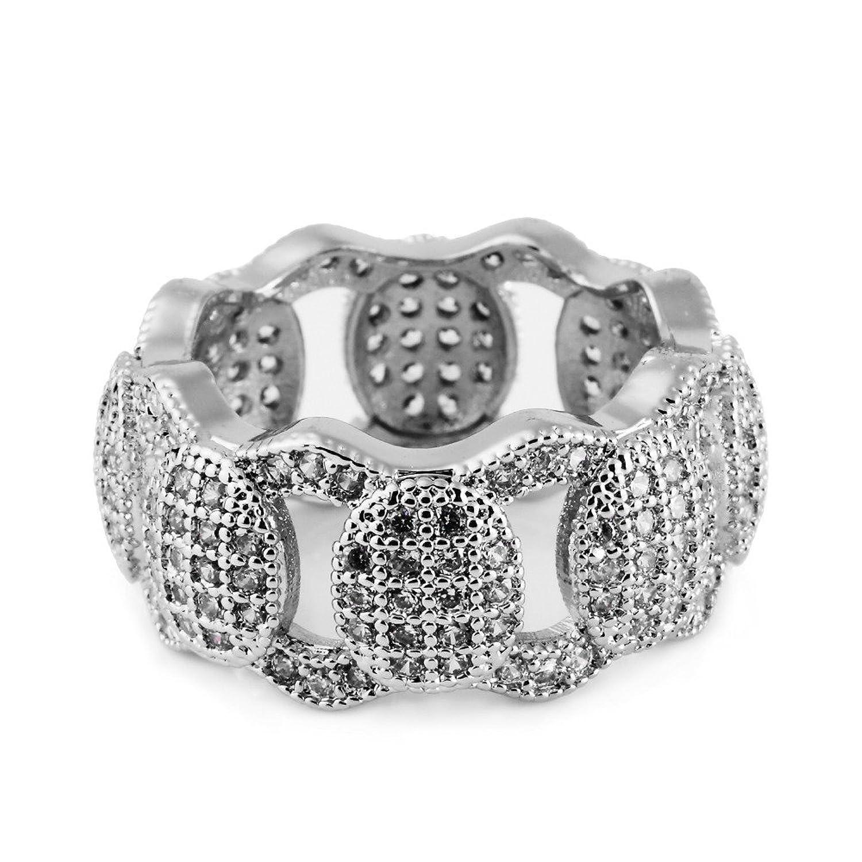 5f8f77477e53 mcsays Hip Hop anillos joyería Iced Out Full Crystal cadena cubano especial  anillo CZ Bling chapado en oro plateado dedo anillos para hombres mujeres  Dope ...