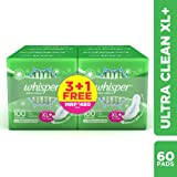 Whisper Ultra Clean Sanitary Pads XL Plus - 15 Pads (Pack of 4)