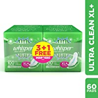 Whisper Ultra Clean Sanitary XL Plus Pads - 15 Count (Pack of 4)