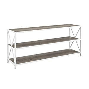 "WE Furniture AZS60XMWGWW Bookcase, 60"", Grey Wash/White Metal"