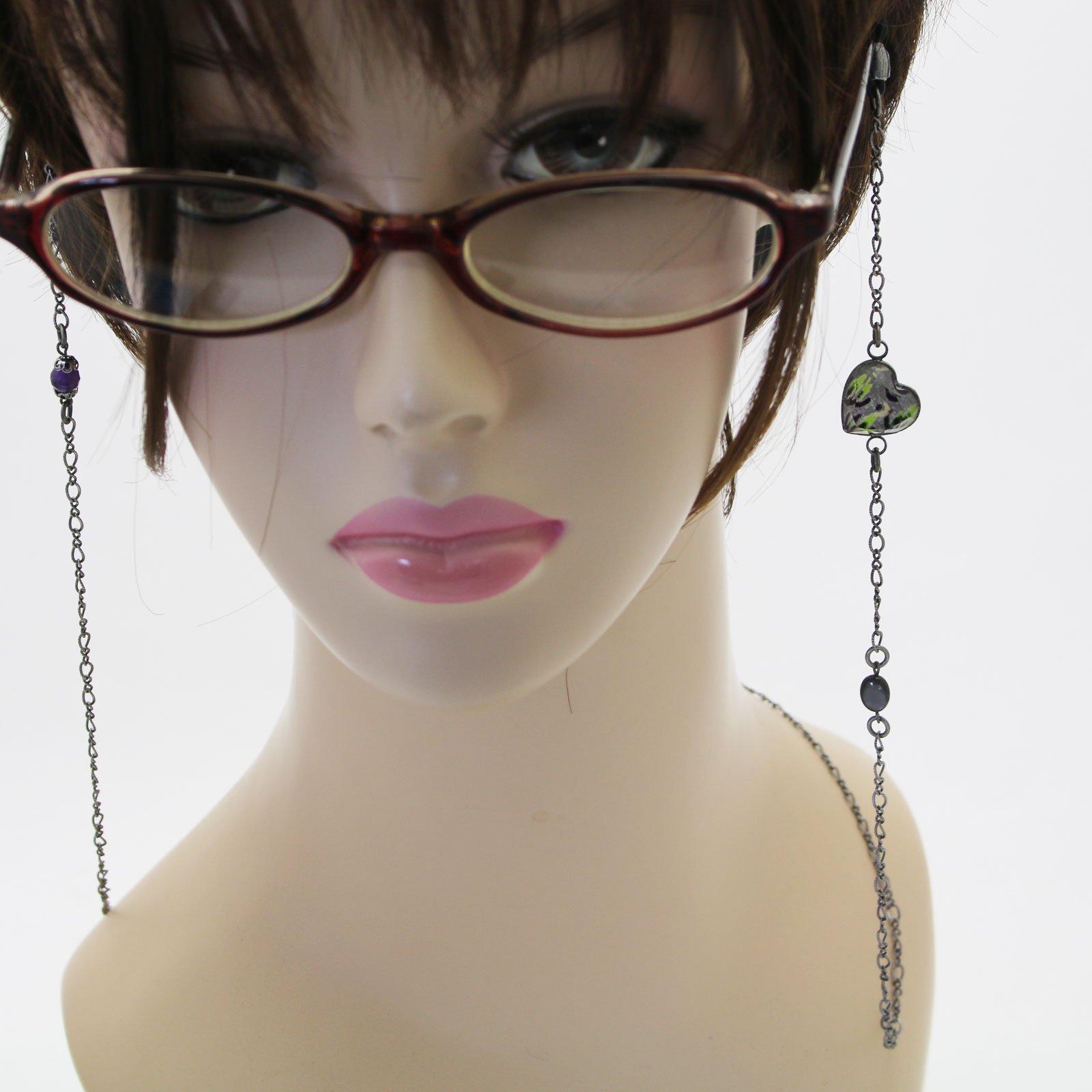 Tamarusan Eyewear Chain Heart Gray Shell Amethyst Unisex Eyeglasses Code by TAMARUSAN (Image #5)
