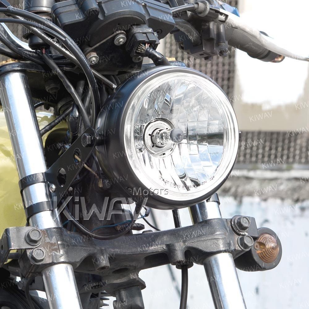 KiWAV バイク部品 5-3/4インチ H4 60/55W ECE認証 ヘッドライト アセンブリ 黒のシェル ハウジング付き サイドマウント 左ハンドルに適用 B079PQSV4B