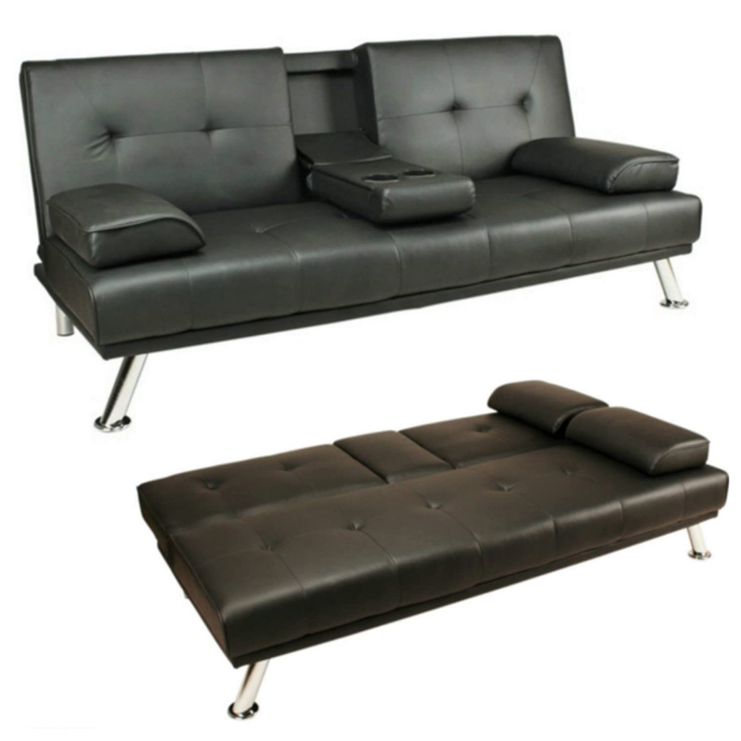 KENT 3 Seater Futon Sofa Bed in Faux Leather Black Amazon