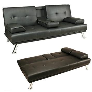 Schwarz Kunstleder Sofa Bett Click Clack Doppelschlafsofa 2 Bis 3 Sitzer  Modernen Couch Mit Getränkehalter Zwei