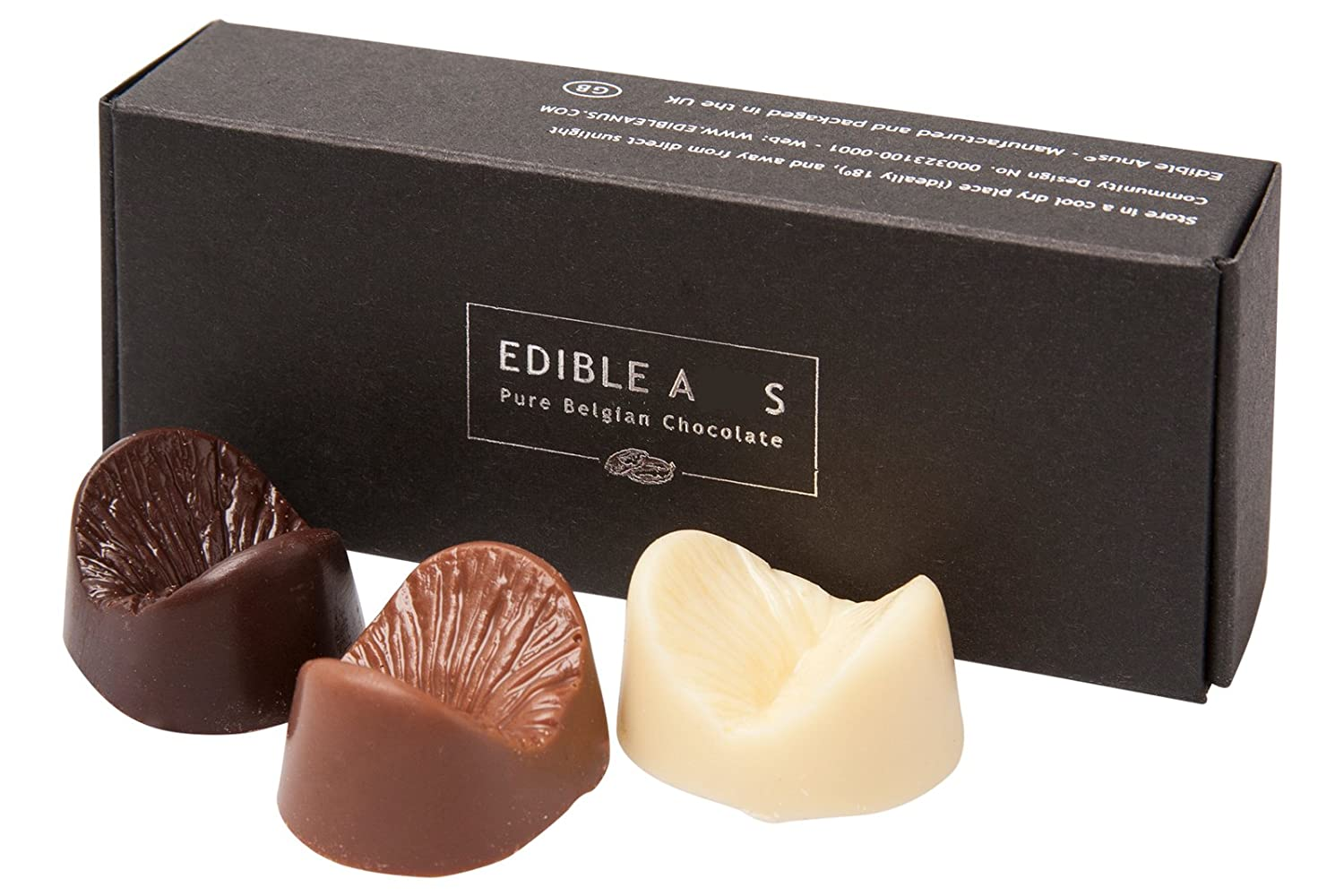 Amazon.com : Edible Anus Dark Milk White Belgian Chocolate Gift ...