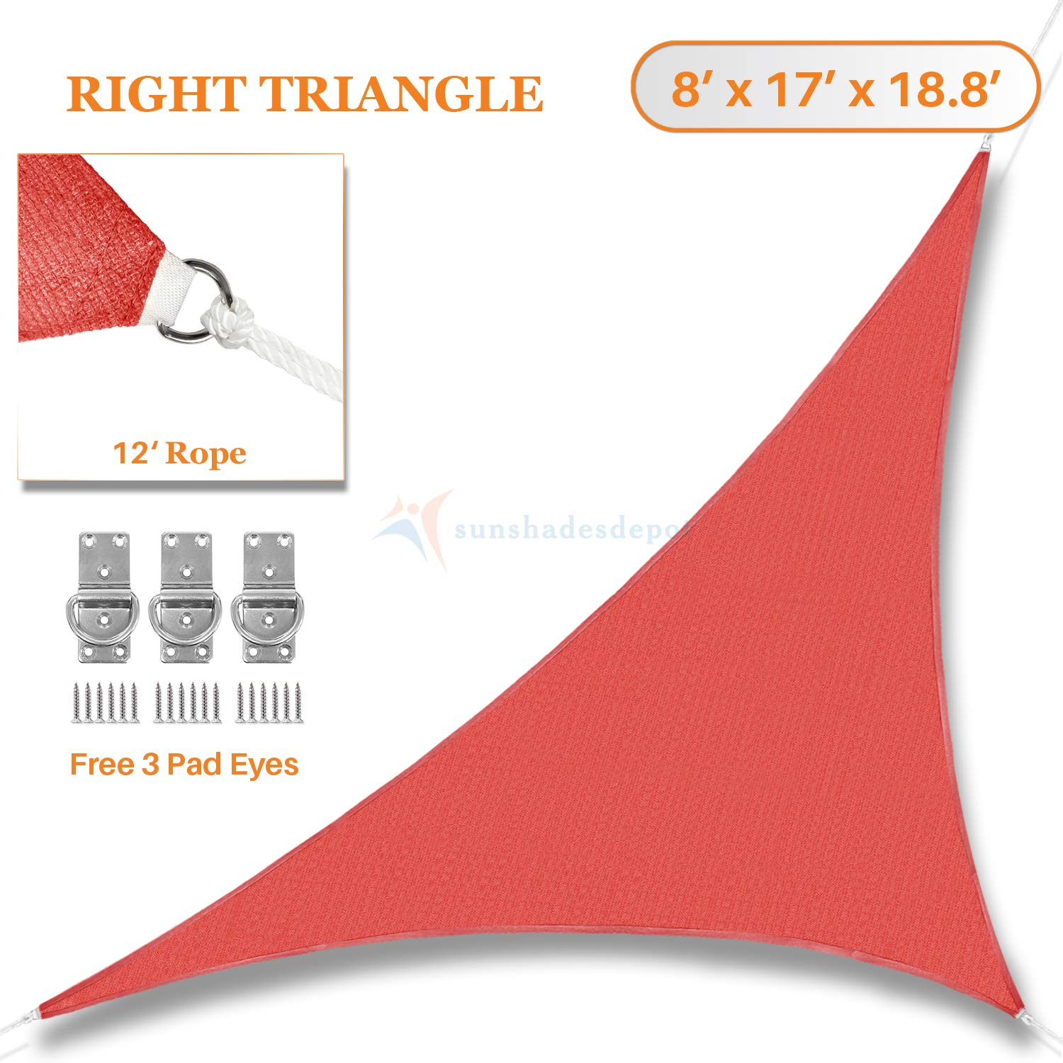 Sunshades Depot 8' x 17' x 18.8' Sun Shade Sail 180 GSM Right Triangle Permeable Canopy Rust Red Custom Commercial Standard